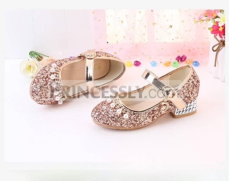 Princessly.com-K1004018-Gold/Silver Sequin Rhinestone Wedding Flower Girl Shoes High Heels Princess Dancing Shoes-32