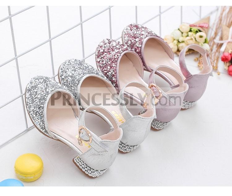 Princessly.com-K1003936-Silver/Pink Glitter Rhinestone High Heel Baby Kids Princess Party Shoes Wedding Flower Girl Shoes-31