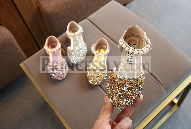 Princessly.com-K1003933-Silver/Gold/Pink Beaded Flower Girl Shoes Baby Dancing Kids Sandals Wedding Shoes-31
