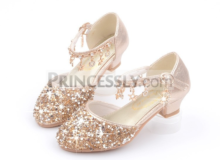Princessly.com-K1003955-Gold/Silver/Pink Sequin Rhinestone Sandals Wedding Flower Girl Shoes High Heels Princess Dancing Shoes-32
