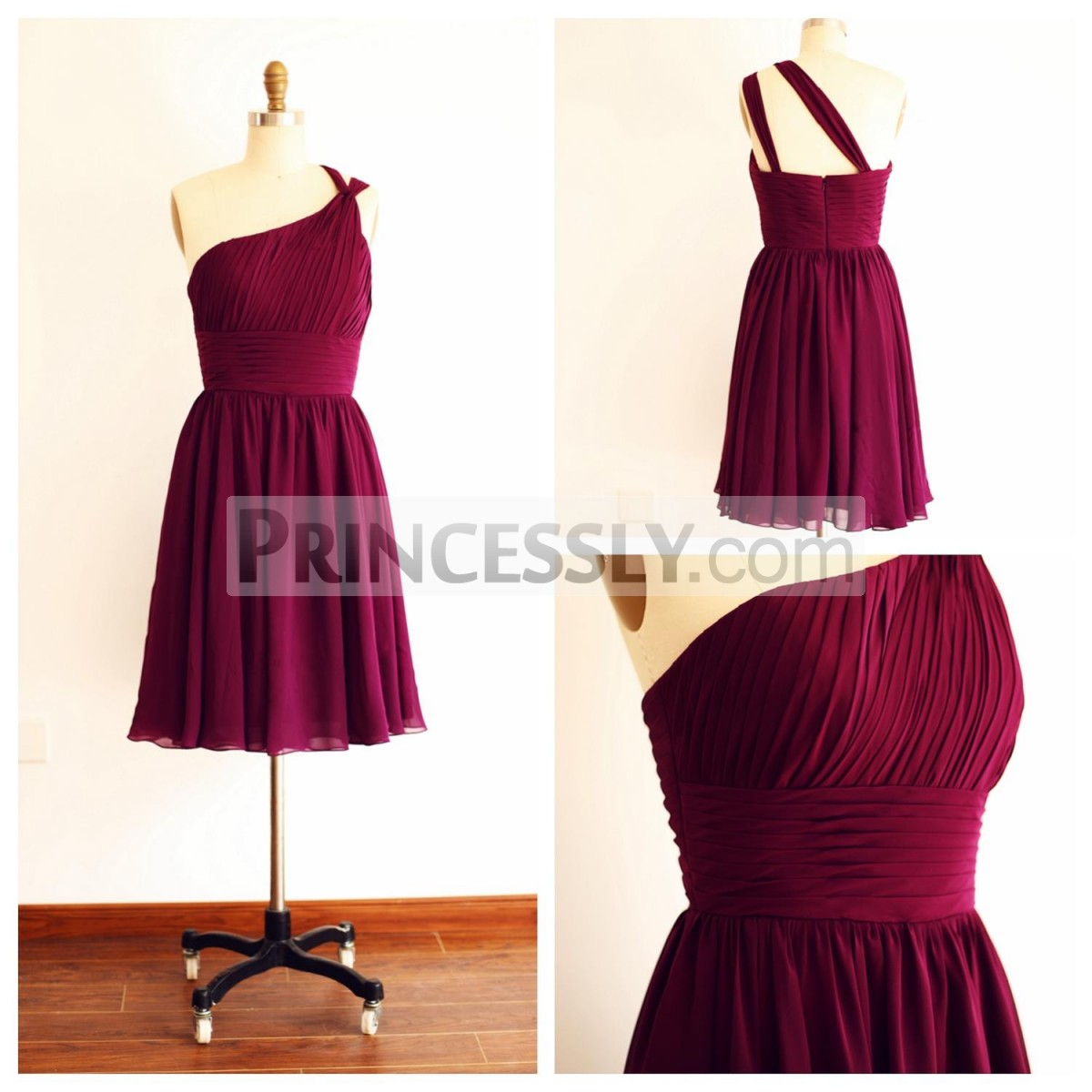 Princessly.com-K1003258-One Shoulder Plum Purple A line Short Knee Length Bridesmaid Dress-31