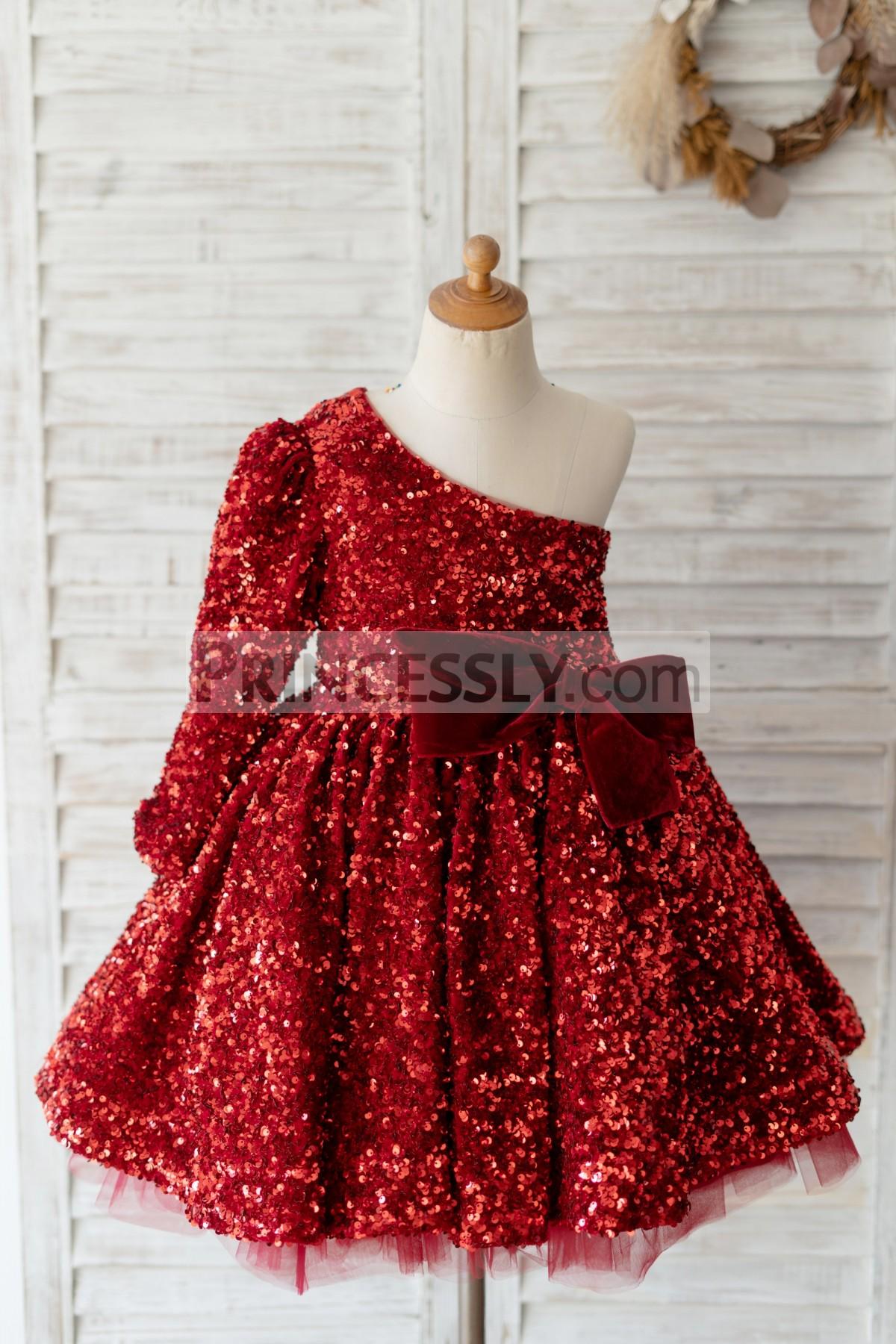 Princessly.com-K1004128-One Shoulder Burgundy Sequin Long Sleeves Wedding Flower Girl Dress Kids Party Dress-31