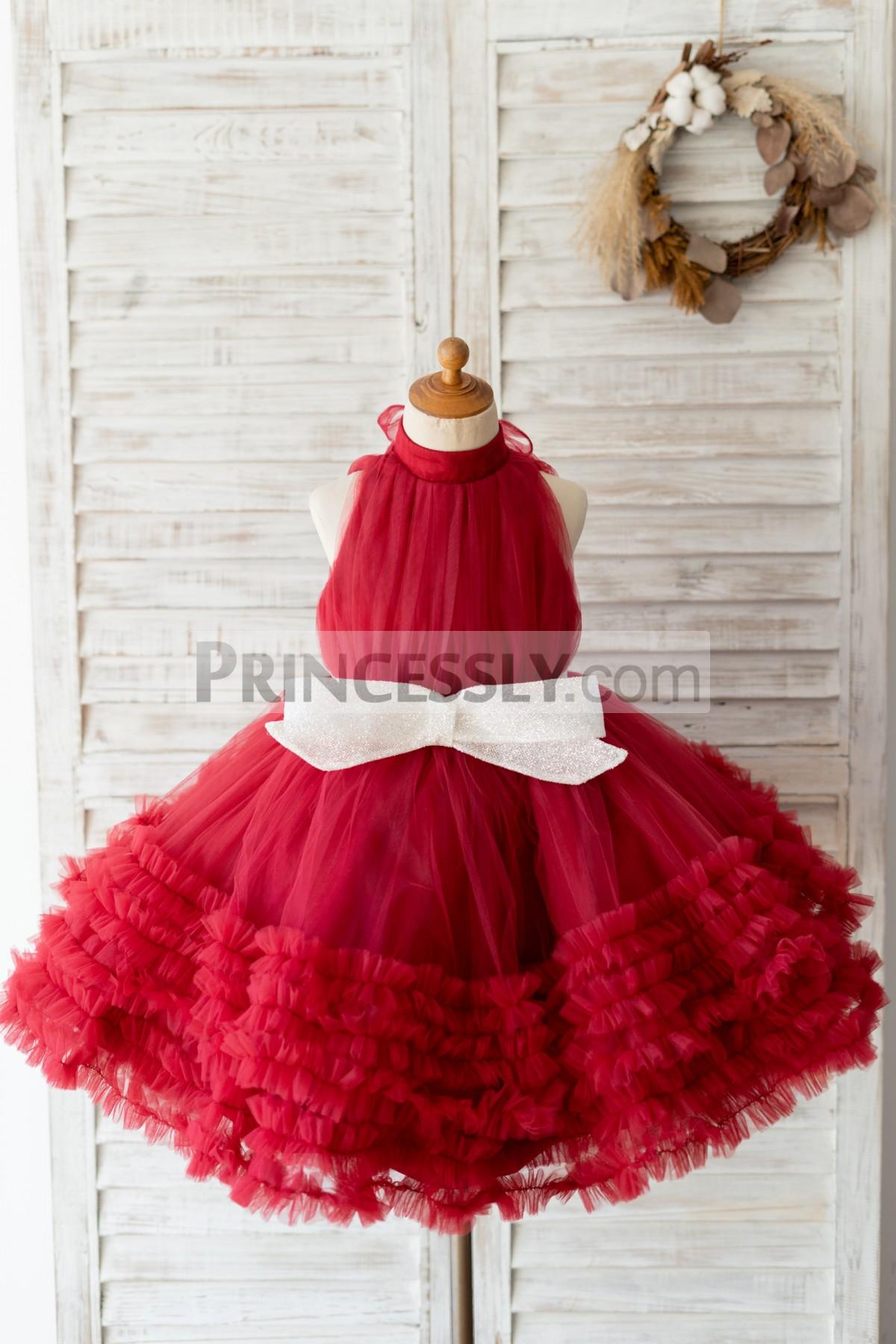 Princessly.com-K1004130-Halter Neck Burgundy Tulle Ruffles Wedding Flower Girl Dress Kids Party Dress-31