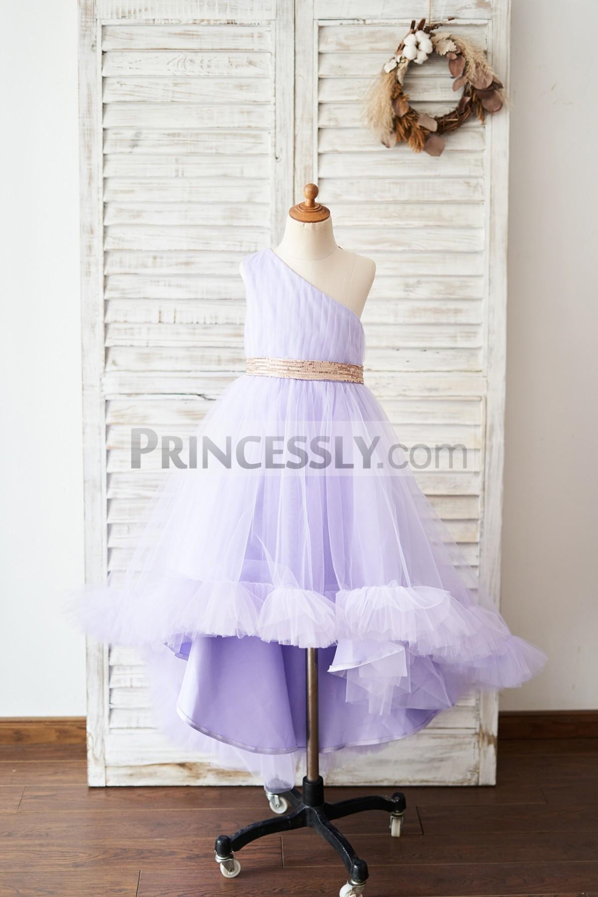 Princessly.com-K1004042-One Shoulder Hi-Low Lavender Tulle Wedding Flower Girl Dress-31