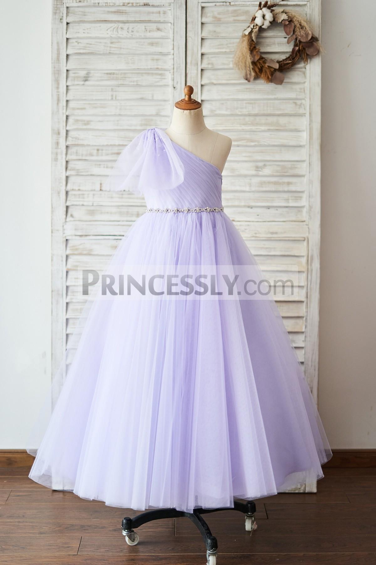 Princessly.com-K1004047-One Shoulder Beaded Lavender Tulle Wedding Flower Girl Dress-31
