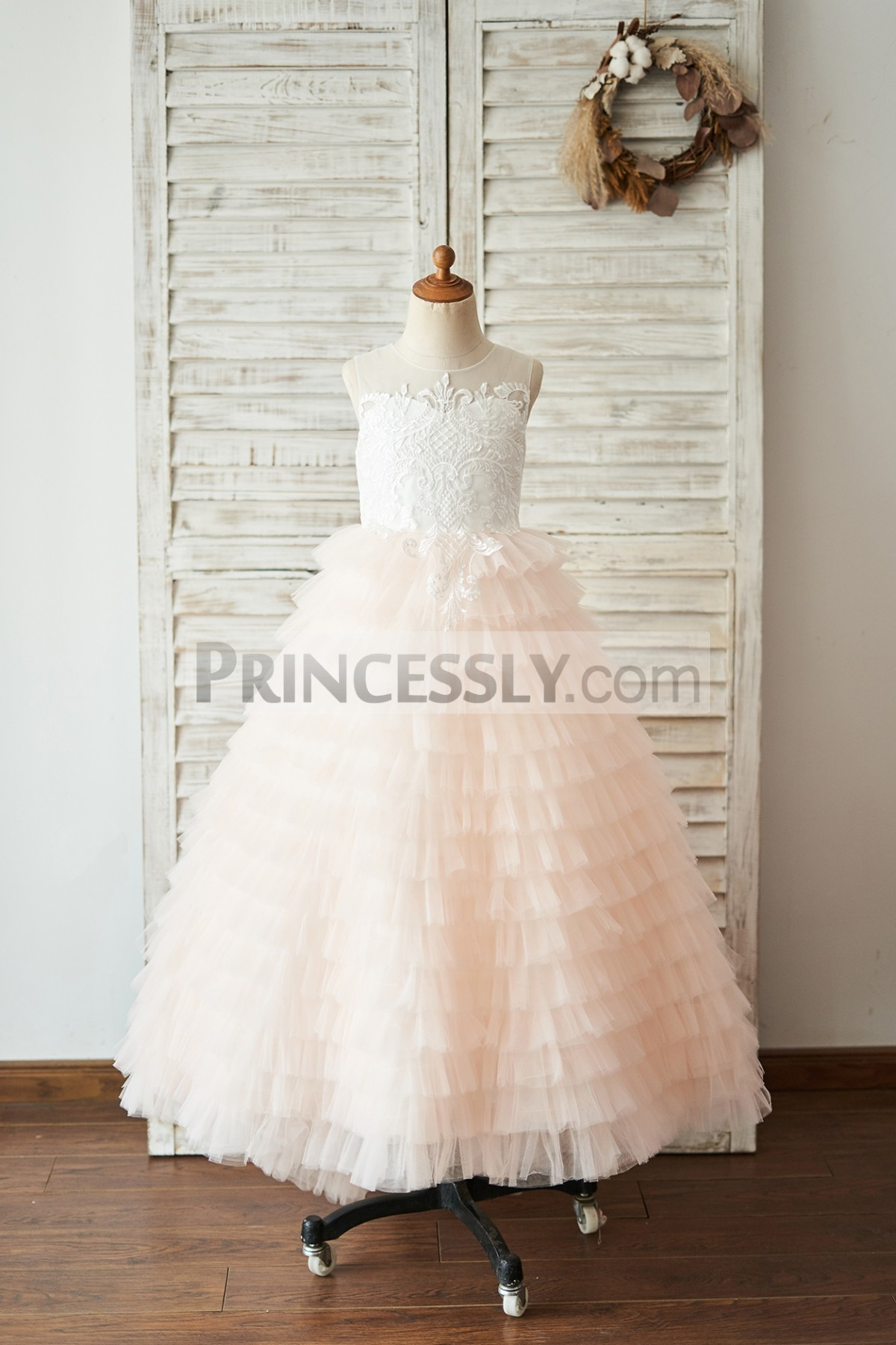 Princessly.com-K1004048-Ivory Lace Peach Pink Cupcake Tulle Keyhole Back Wedding Flower Girl Dress-31