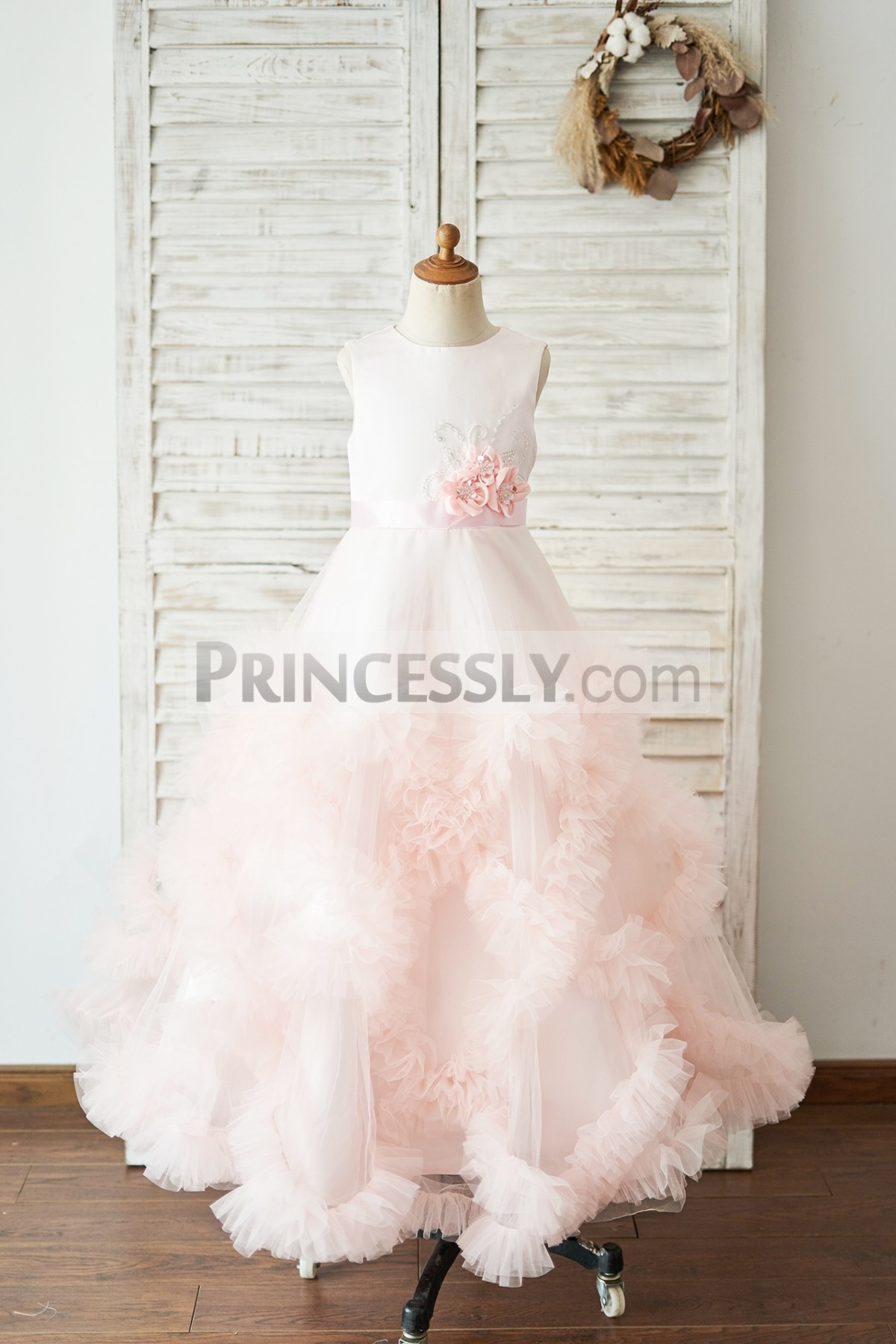 Princessly.com-K1004051-Pink Satin Tulle Keyhole Back Ruffles Wedding Flower Girl Dress-31