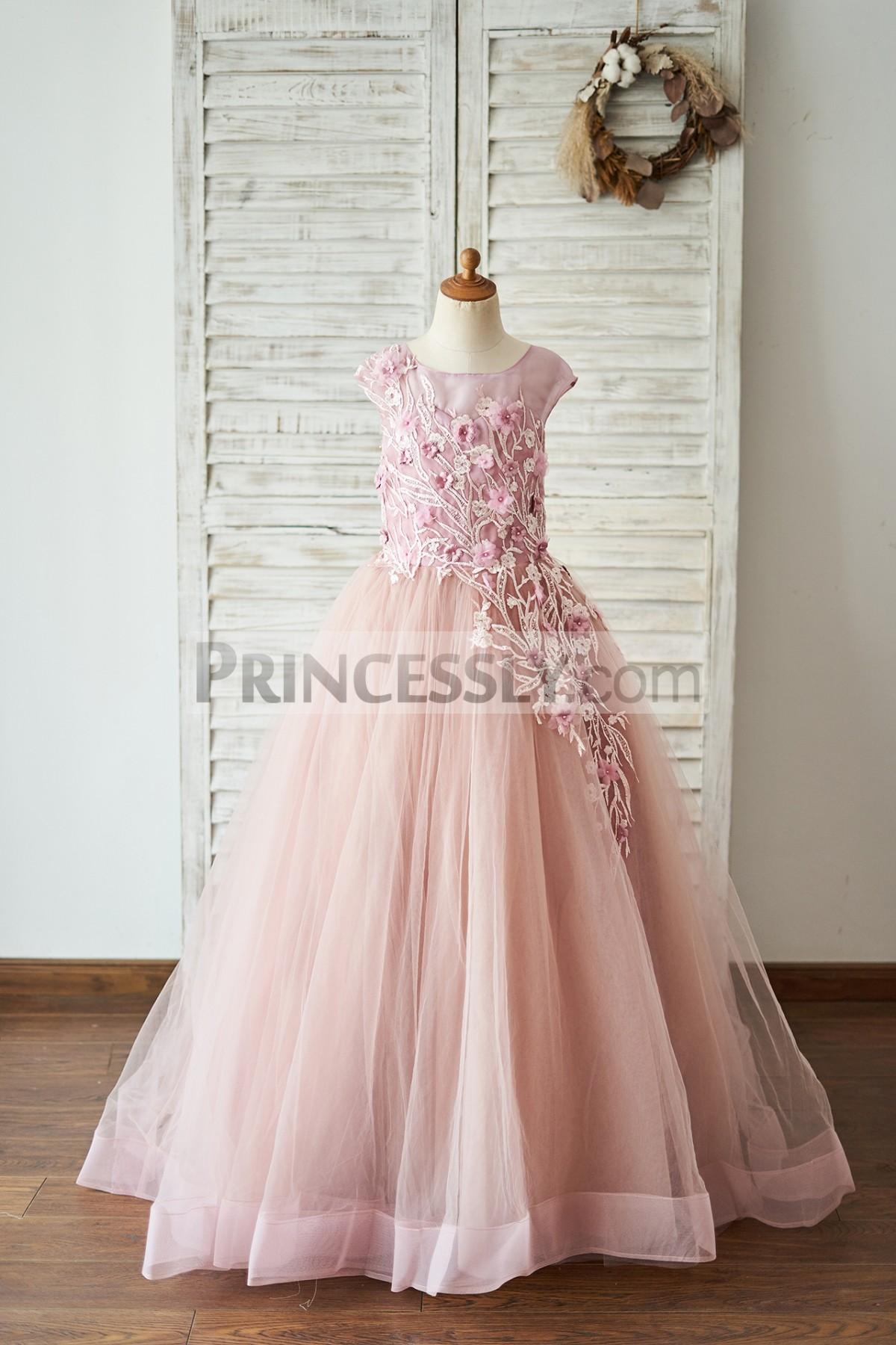 Princessly.com-K1004054-Mauve Lace Tulle 3D Flowers V Back Wedding Flower Girl Dress-31