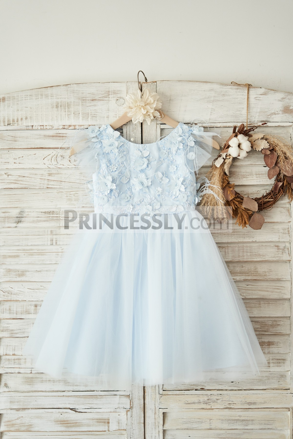 Princessly.com-K1004050-Blue Lace Tulle Cap Sleeves V Back Wedding Flower Girl Dress with Feathers-31