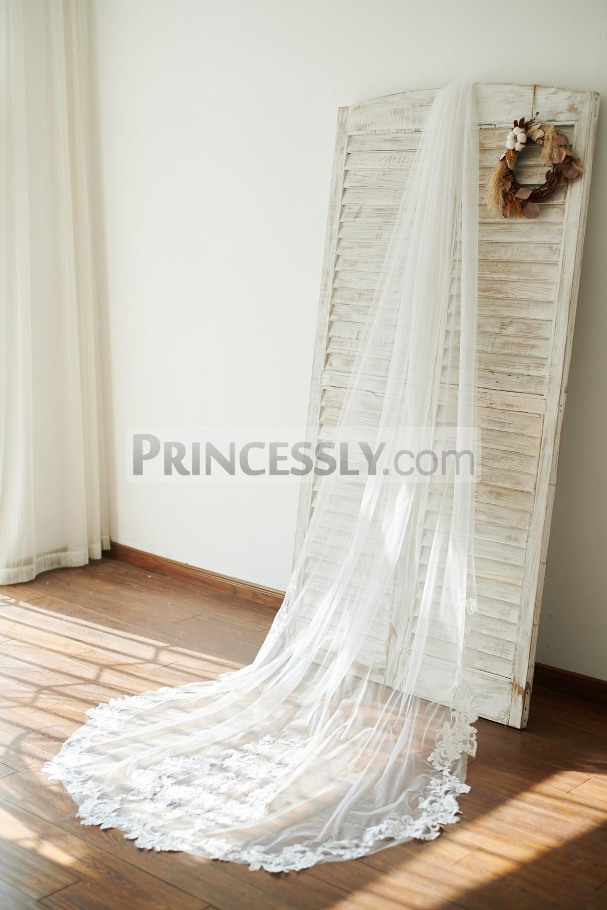 Princessly.com-K1003860-Cathedral Long Tulle Lace Appliques Wedding Veil Bridal Veil-31