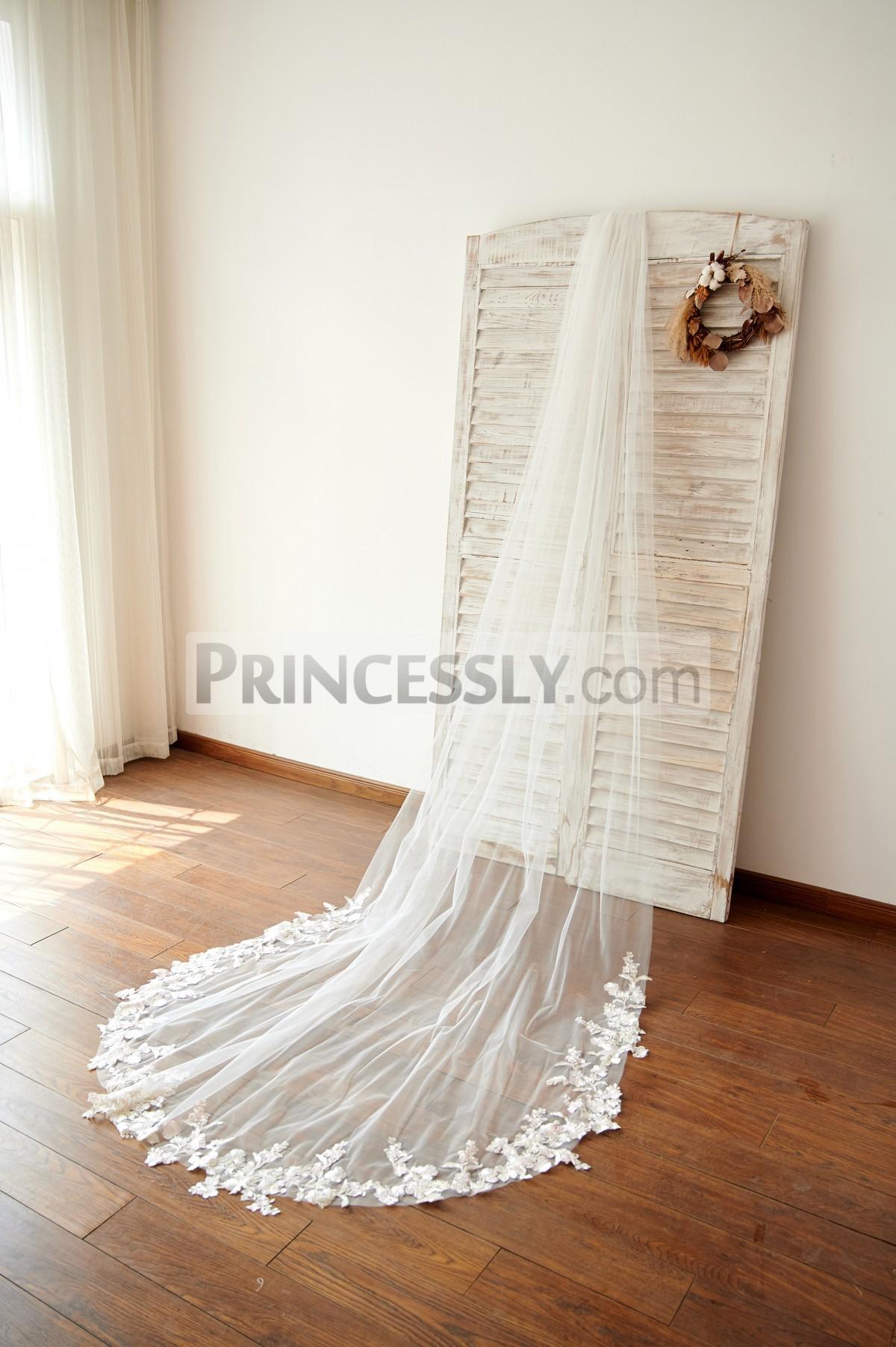 Princessly.com-K1003975-Ivory Champagne Lace Long Cathedral Wedding Bridal Veil-31