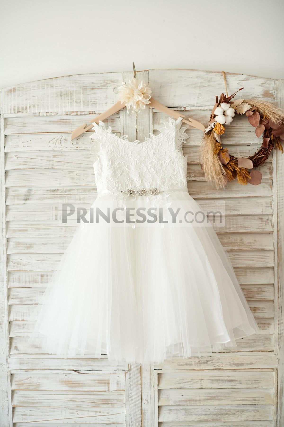 Princessly.com-K1003817-Ivory lace Tulle Spaghetti straps Wedding Flower Girl Dress with Beaded Belt-31