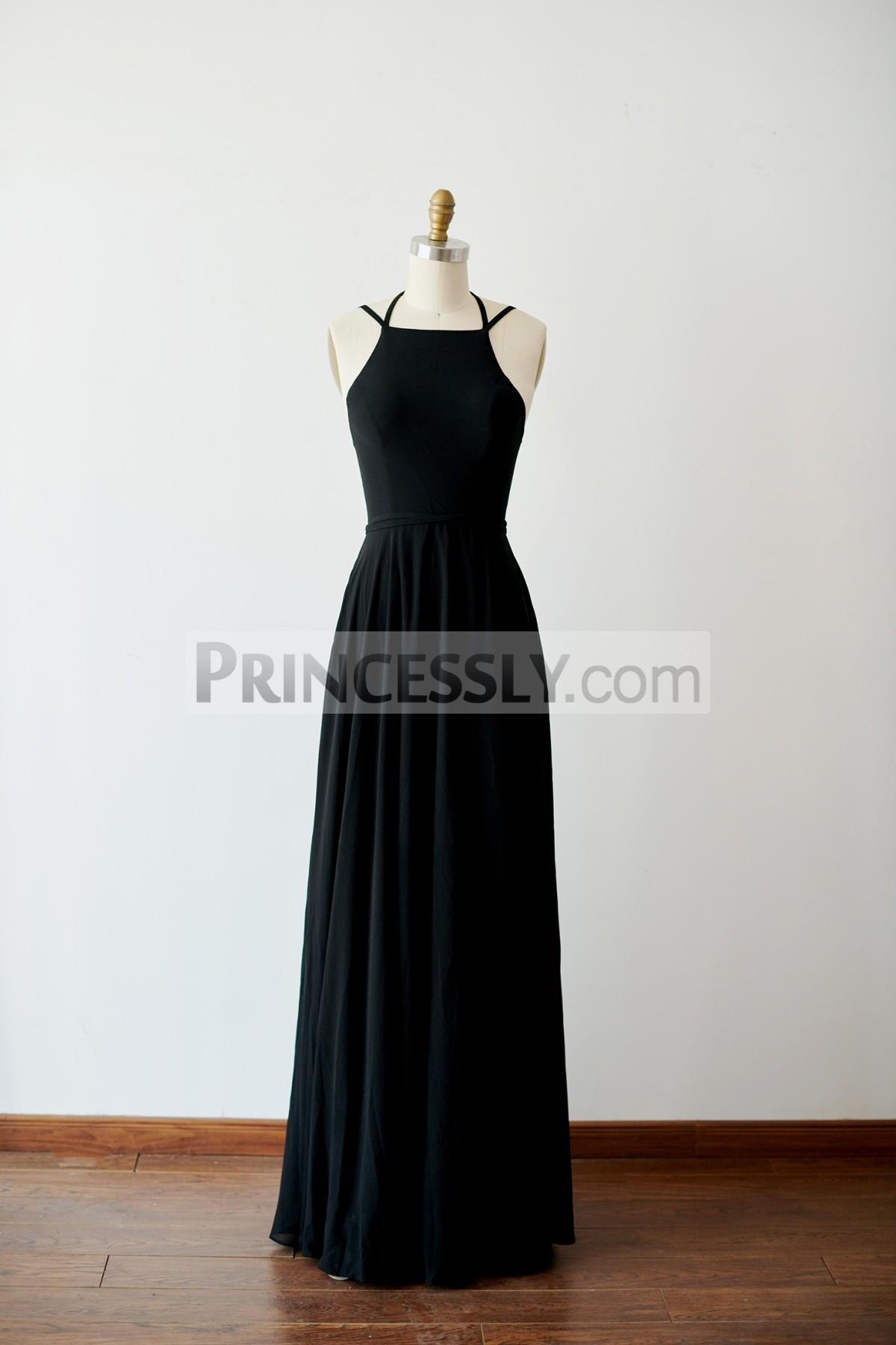 Princessly.com-K1003819-Sexy Lace Up Black Chiffon Wedding Bridesmaid Dress Evening Party Dress-31
