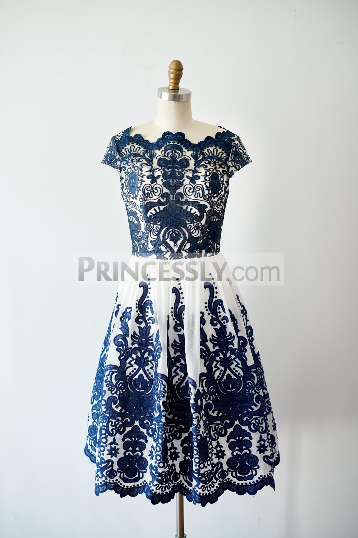 Princessly.com-K1003818-Cap Sleeves Navy Blue Lace chiffon Wedding Bridesmaid Dress Evening Dress in Knee Length-31