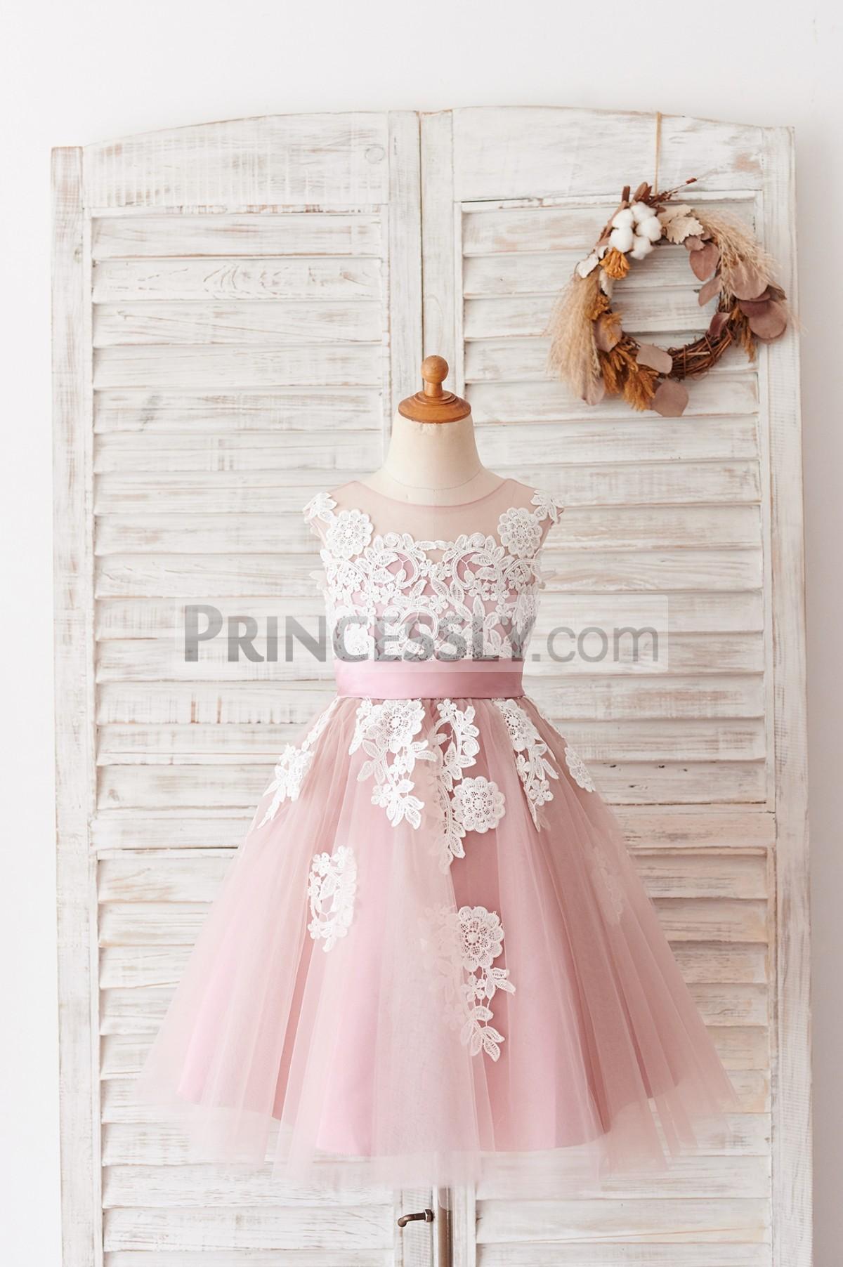 Princessly.com-K1004055-Ivory Lace Mauve/Silver Gray Tulle Wedding Flower Girl Dress-31