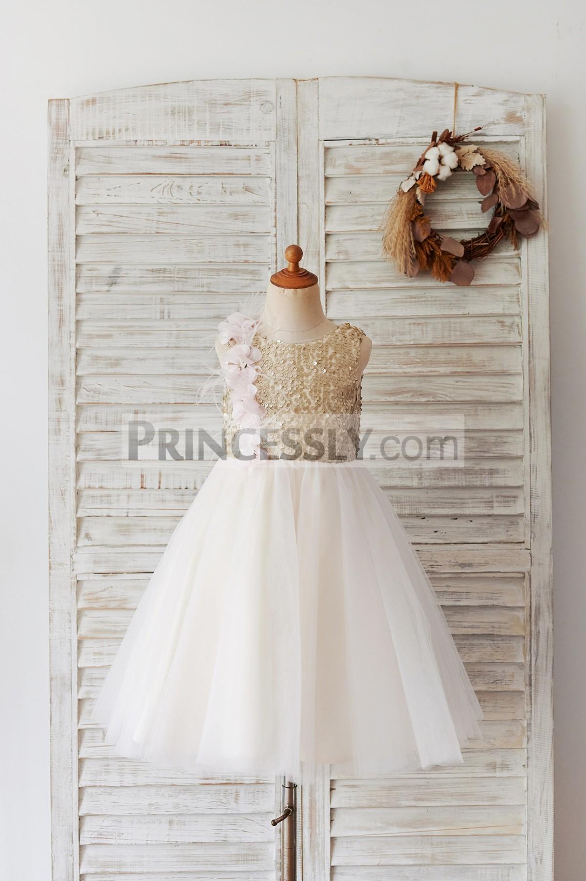 Princessly.com-K1004057-Champagne Sequin Tulle V Back Wedding Party Flower Girl Dress-31
