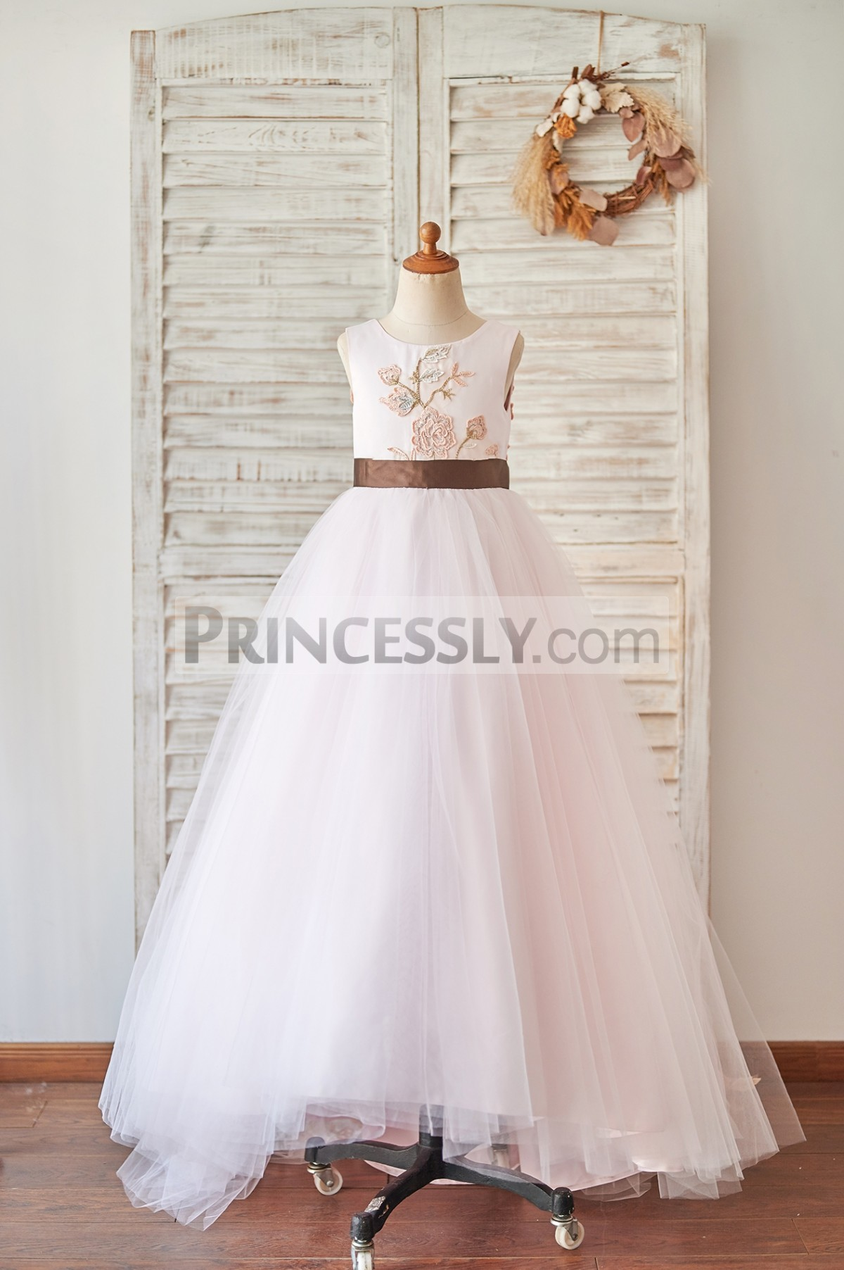 Princessly.com-K1004065-Pink Satin Tulle U Back Wedding Flower Girl Dress with Embroidery Lace-31