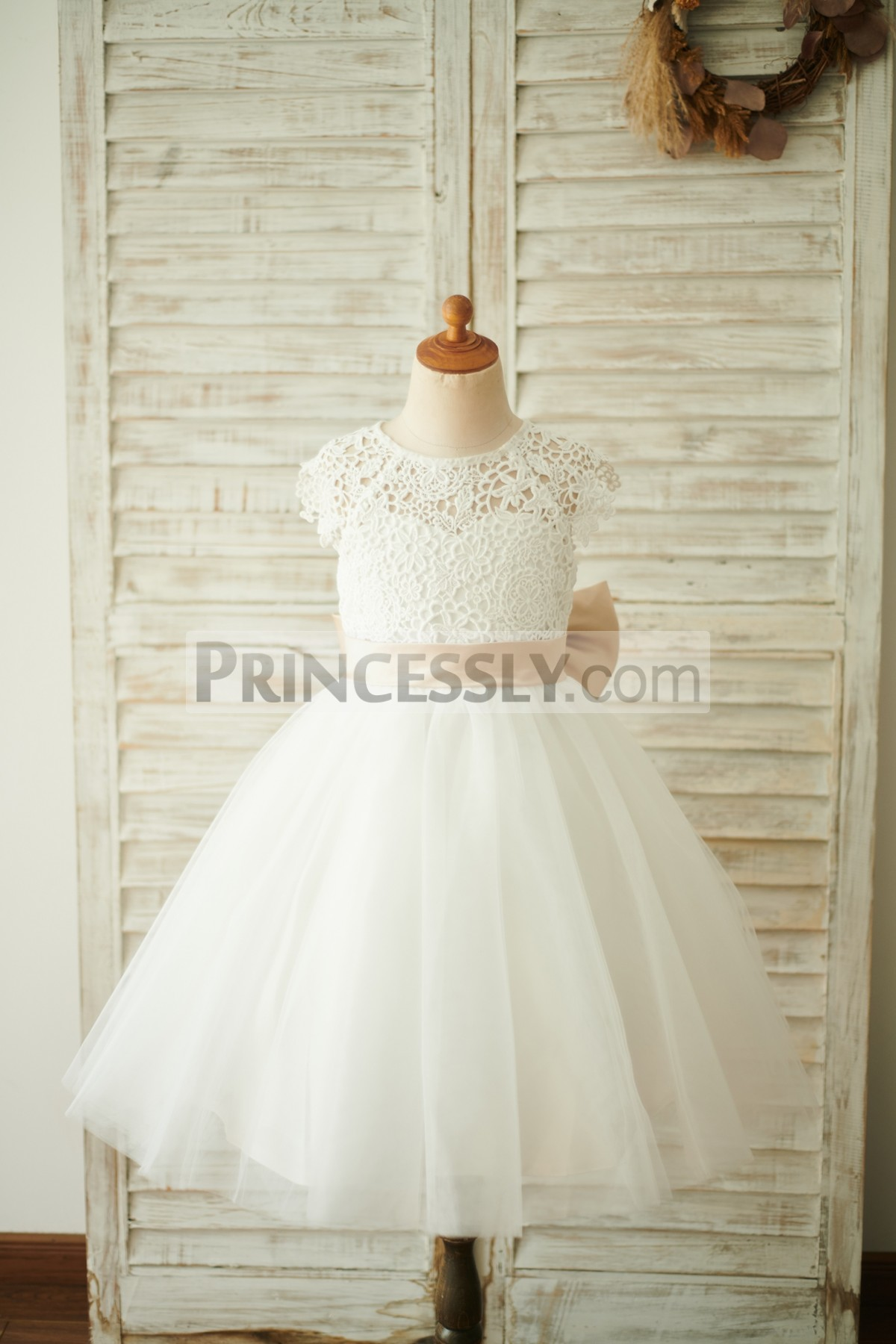 Princessly.com-K1003857-Ivory Lace Tulle Cap Sleeves Wedding Flower Girl Dress with Bow-31
