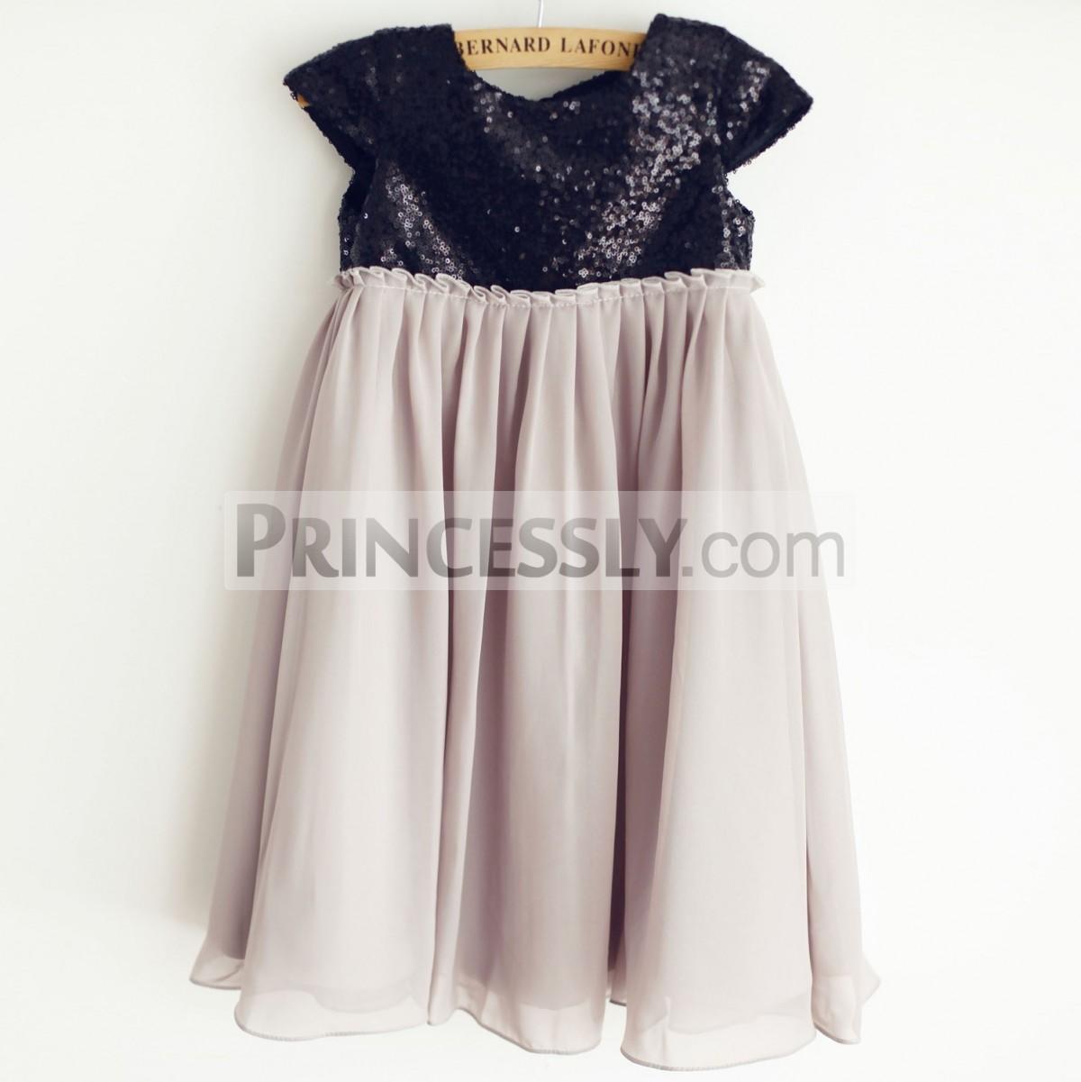 Princessly.com-K1003959-Black Sequin Gray Chiffon Cap Sleeves Wedding Flower Girl Dress-31