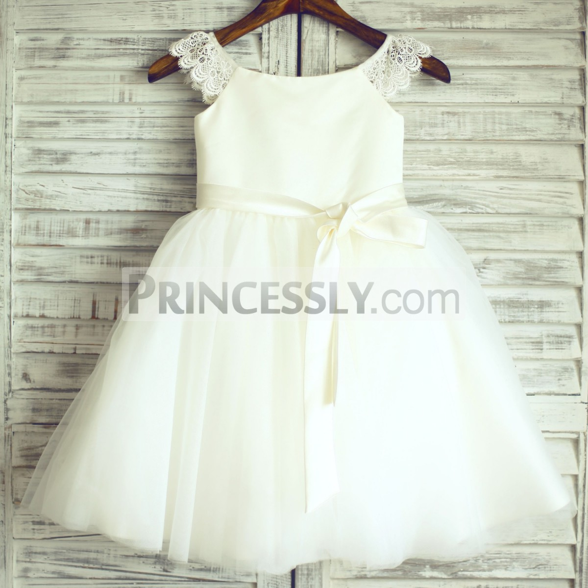 Princessly.com-K1000340-Ivory Lace Cap Sleeves Tulle Flower Girl Dress with ivory sash-31