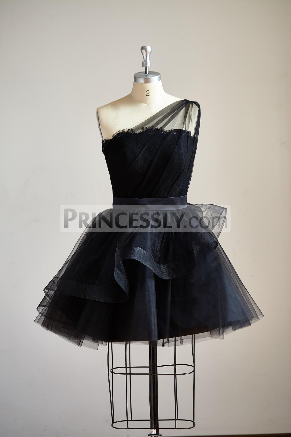 Princessly.com-K1000289-One Shoulder Black Lace Tulle Short Knee Prom Dress Cocktail Party Dress-31