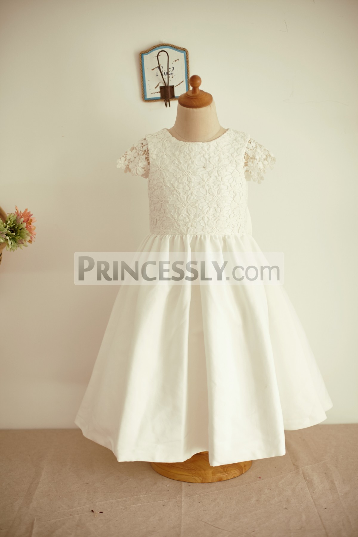 Princessly.com-K1003964-Ivory Lace Cotton Cap Sleeves Wedding Flower Girl Dress with Bow-31