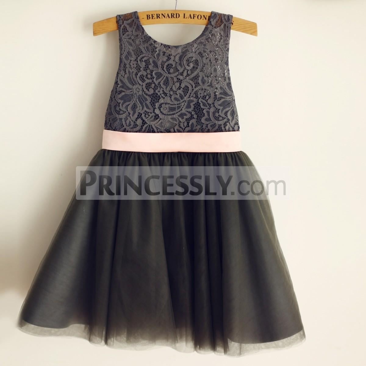 Princessly.com-K1003970-Gray Lace Tulle Wedding Flower Girl Dress with Pink Belt-31