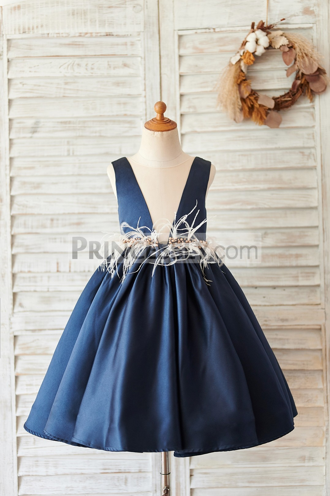 Princessly.com-K1004059-Navy Blue Satin V Neck Wedding Party Flower Girl Dress-31