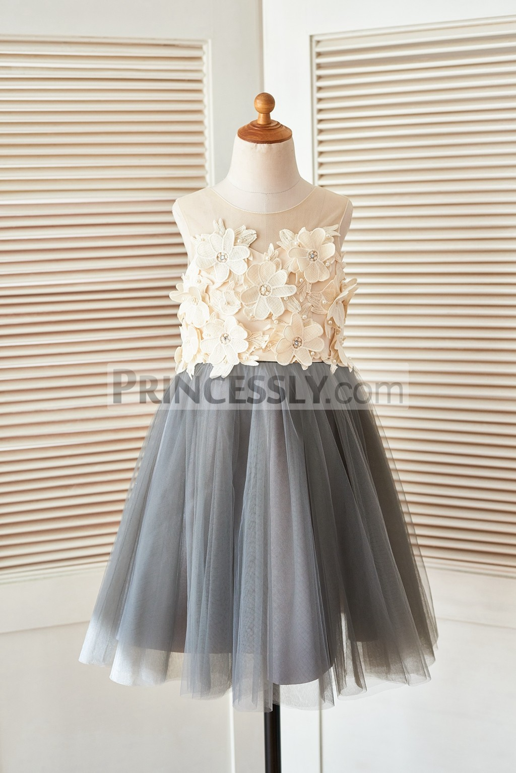 Princessly.com-K1003400 Sheer Illusion Neck Gray Tulle Wedding Flower Girl Dress with Champagne 3D Flowers-31