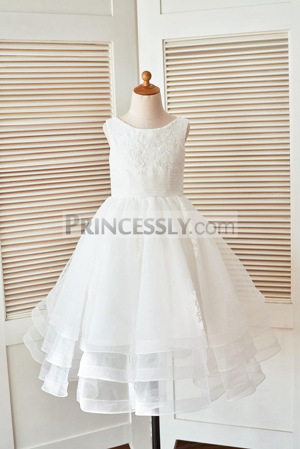 Princessly.com-K1003403 Cupcake Ivory Lace Tulle Wedding Flower Girl Dress with Horse Hair Tulle Hem-31
