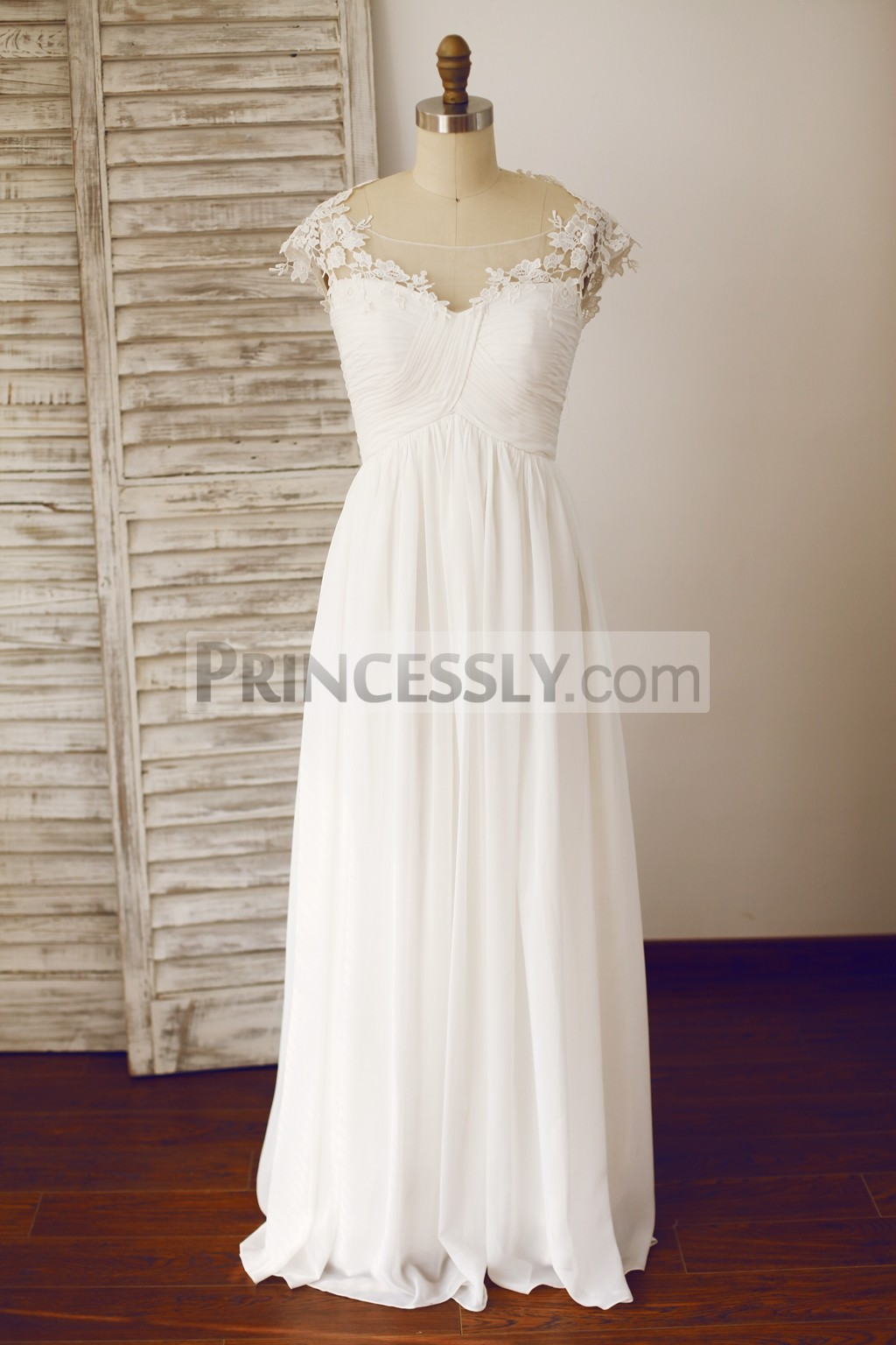 Princessly.com-K1003333 Sheer Illusion Neckline Chiffon Lace Wedding Dress-31