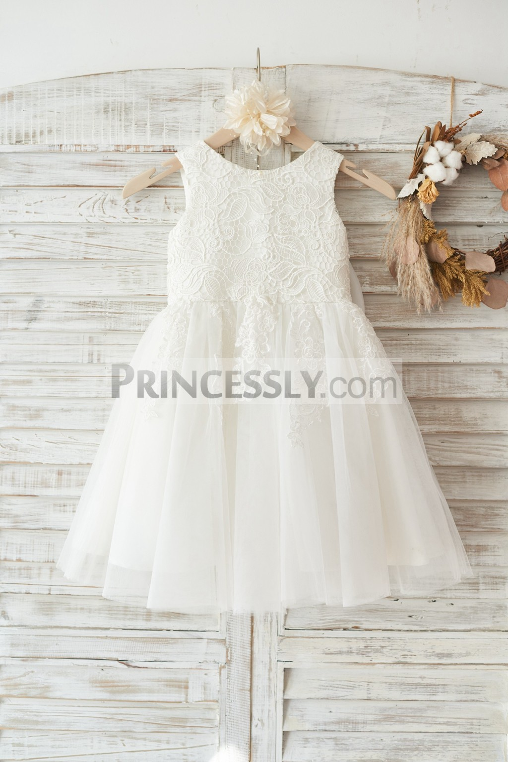 Princessly.com-K1003452-Ivory Lace Tulle Wedding Flower Girl Dress with Big Bow-31