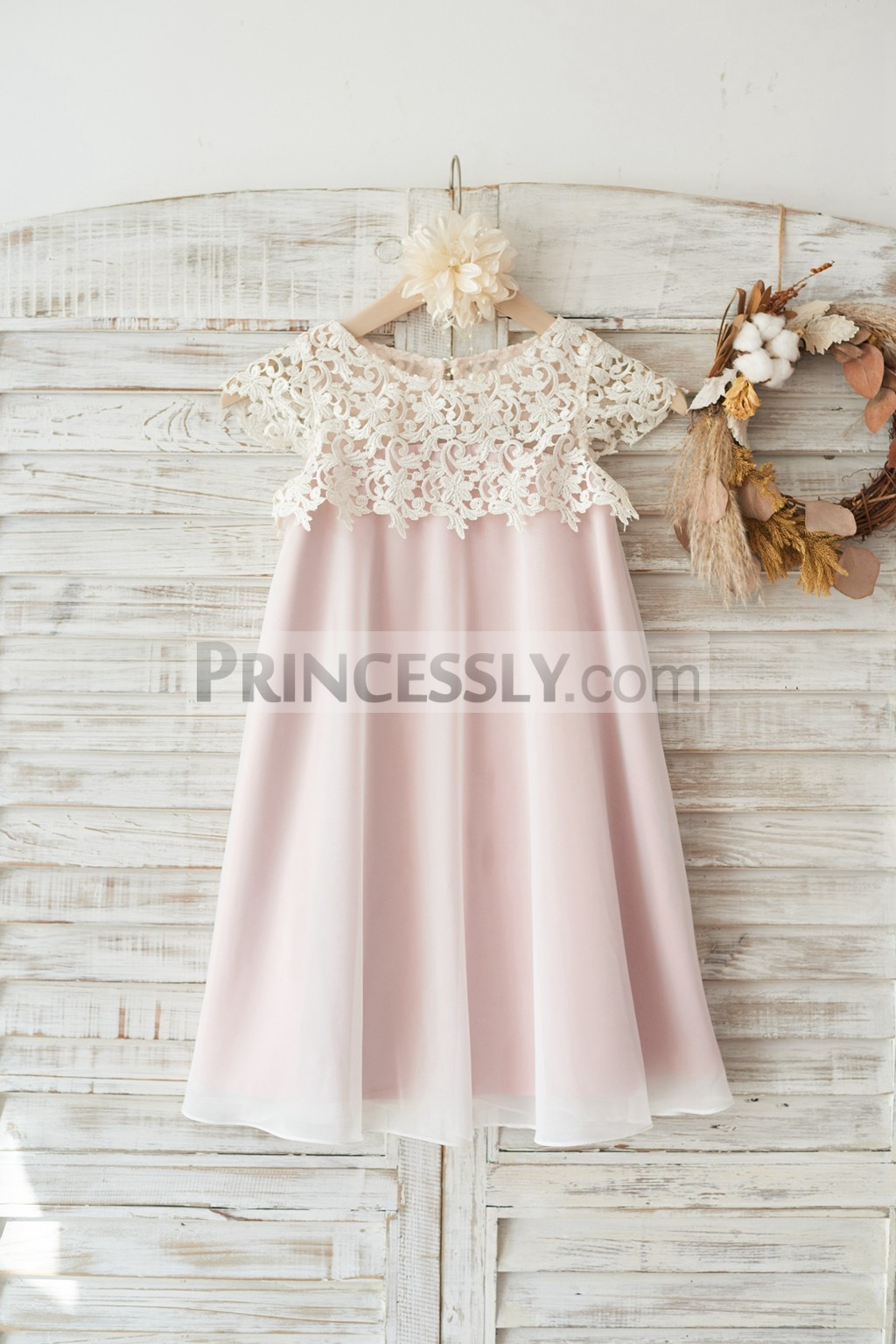 Princessly.com-K1003458-Boho Beach Lace Cap Sleeves Ivory Chiffon Wedding Flower Girl Dress with Pink Lining-31