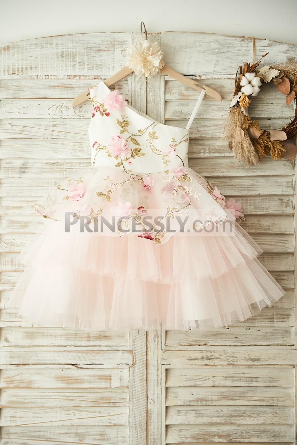 Princessly.com-K1003379 One Shoulder Floral Organza Pink Tulle Cupcake Wedding Flower Girl Dress-31