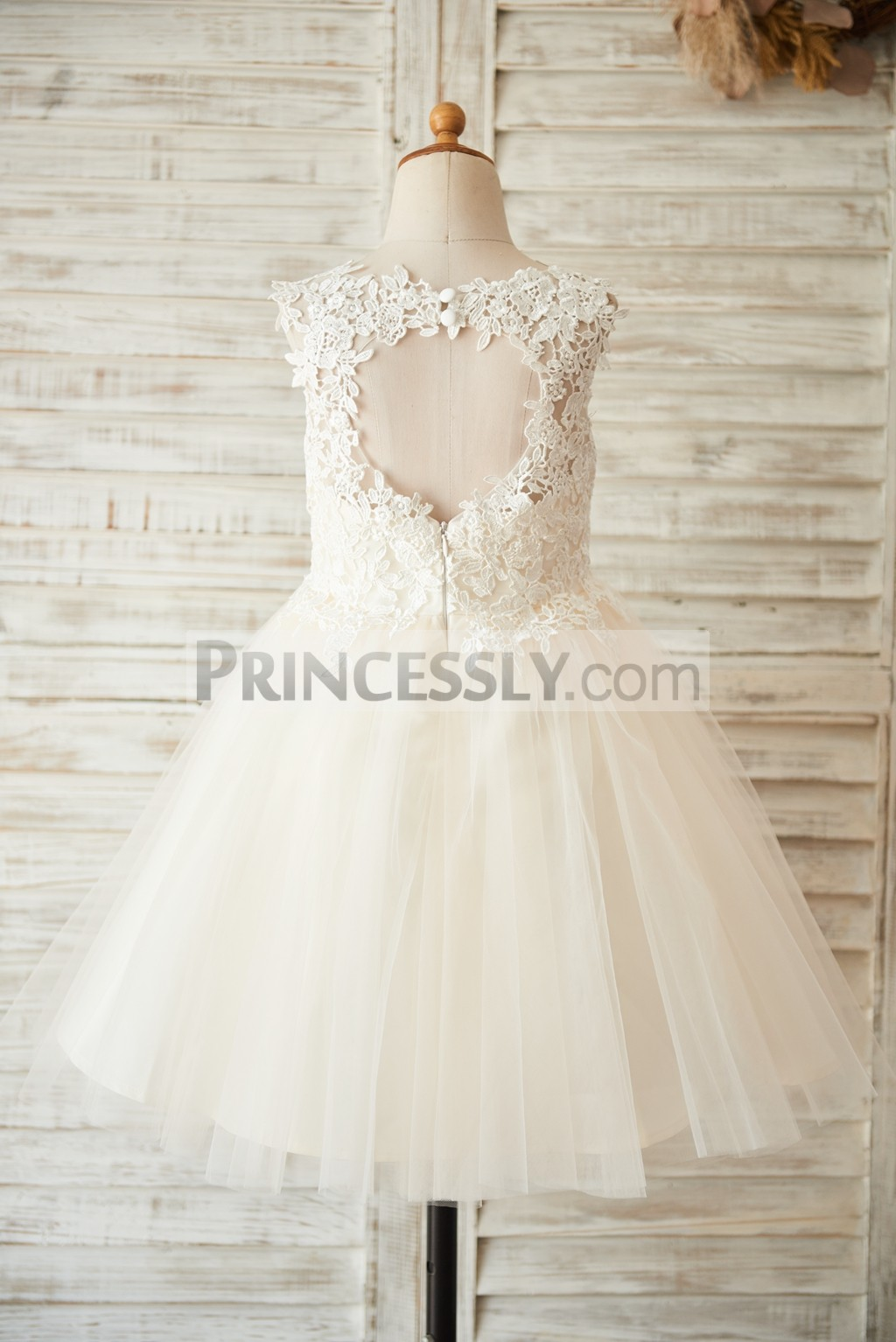 Princessly.com-K1003504-Ivory Lace Champagne Tulle Wedding Flower Girl Dress with Keyhole Back-31