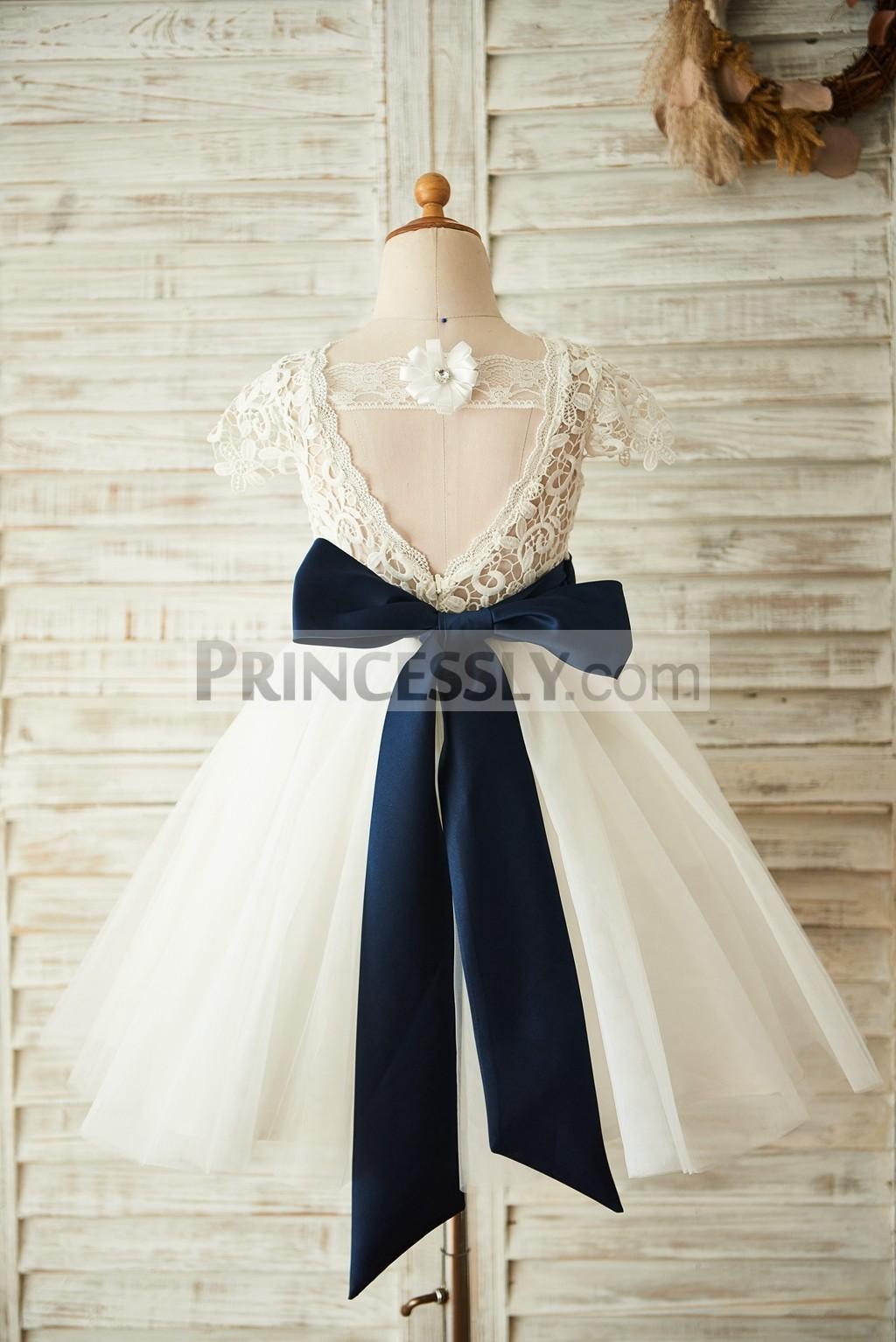 Princessly.com-K1003658-Short Sleeves V Back Lace Tulle Wedding Flower Girl Dress with Navy Blue Belt-31