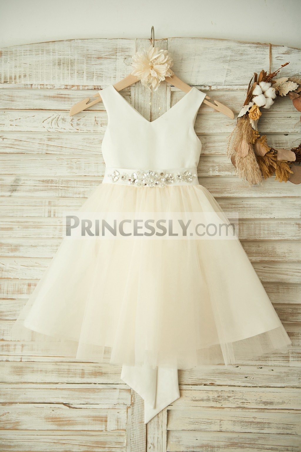 Princessly.com-K1003363-V Neck Ivory Satin Champagne Tulle Wedding Flower Girl Dress with Beaded Belt-31