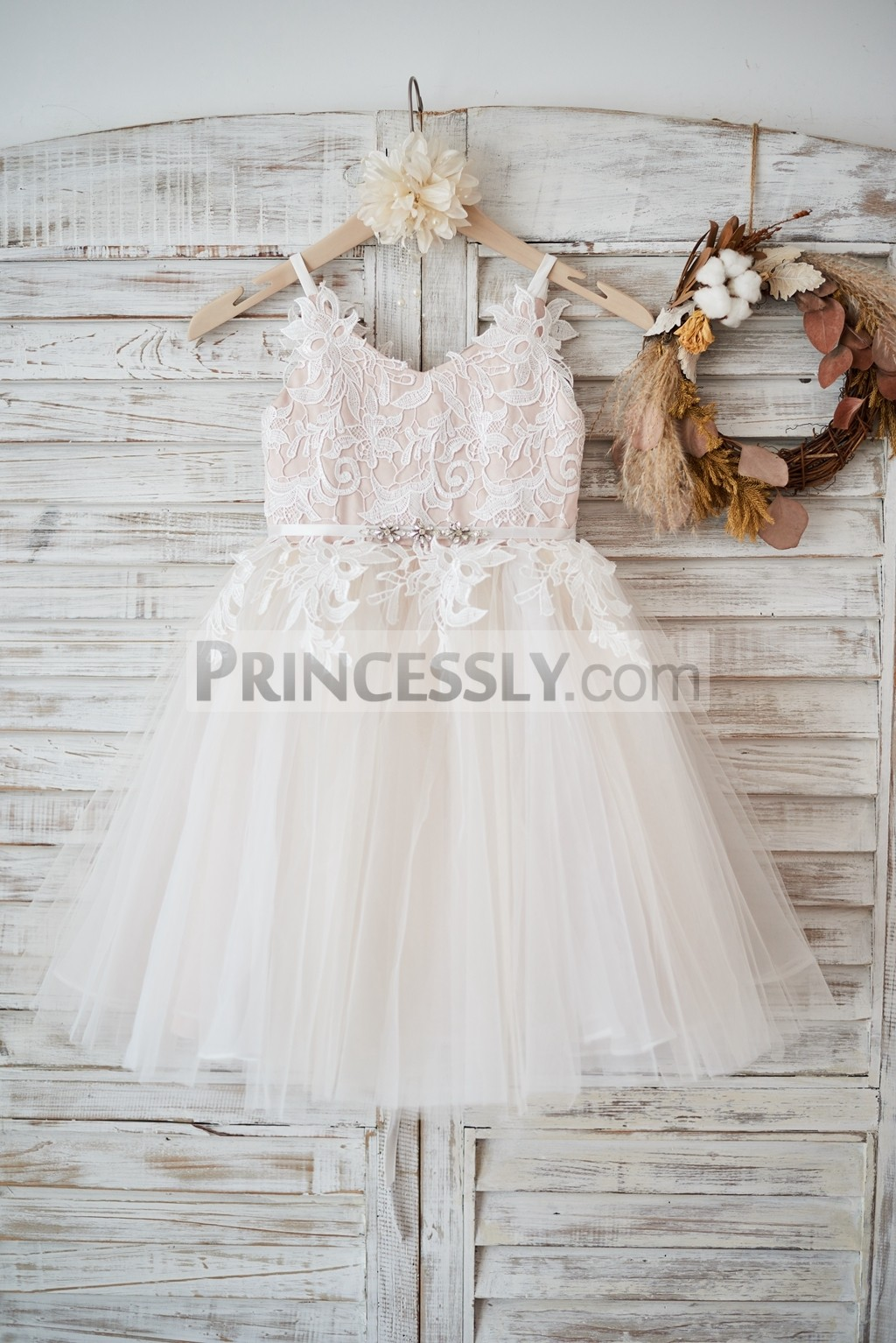 Princessly.com-K1003578-Ivory lace Tulle Spaghetti straps Wedding Flower Girl Dress with Beaded Belt-31