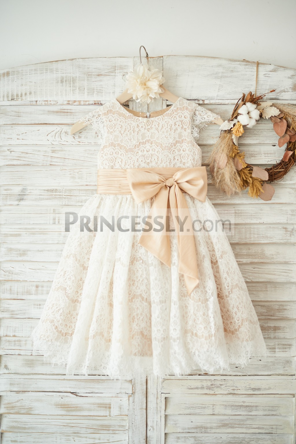 Princessly.com-K1003555-Champagne Satin Ivory Lace Cap Sleeves Wedding Flower Girl Dress with Bow Belt-31