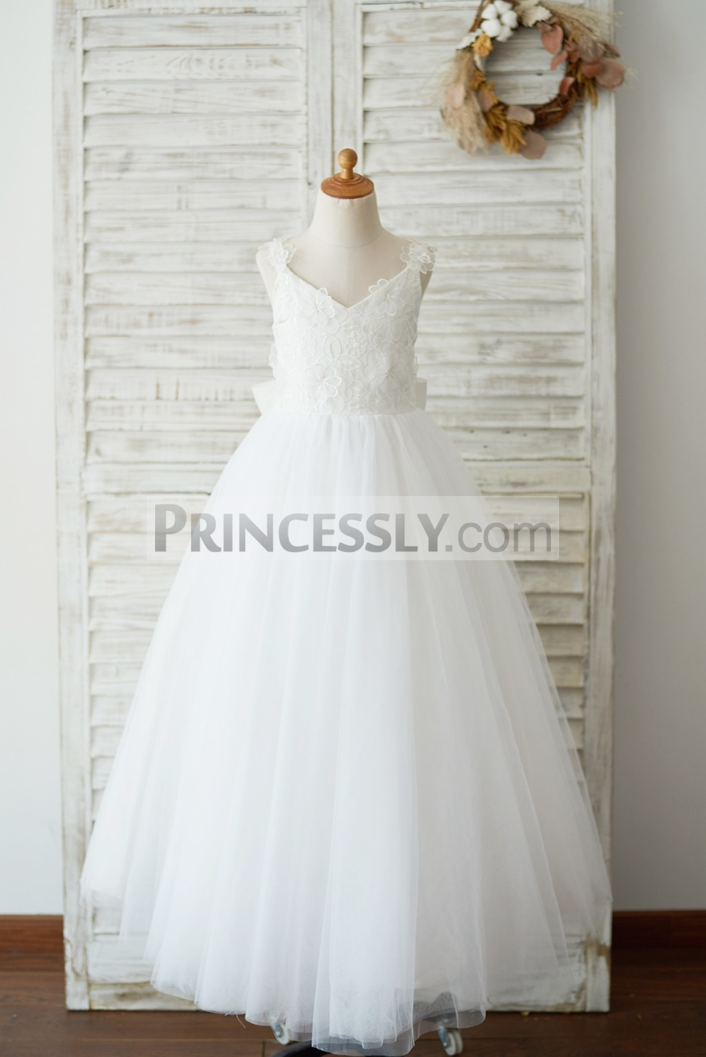 Princessly.com-K1003543-Ankle Length Ivory Lace Tulle 3D Flowers Wedding Flower Girl Dress with Big Bow-31