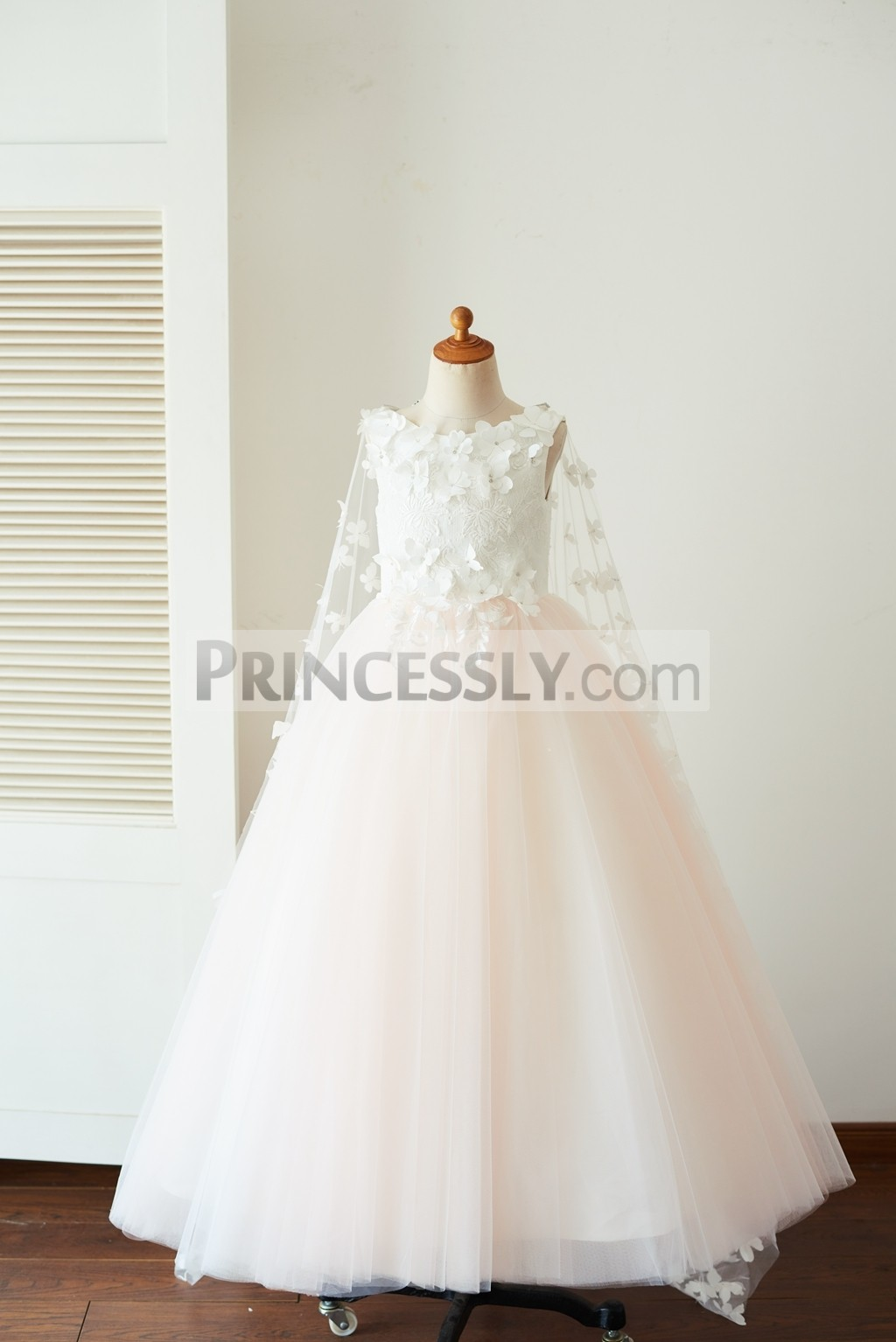Princessly.com-K1003655-Ivory Lace Pink Tulle Wedding Party Flower Girl Dress with Butterfly Cape-31