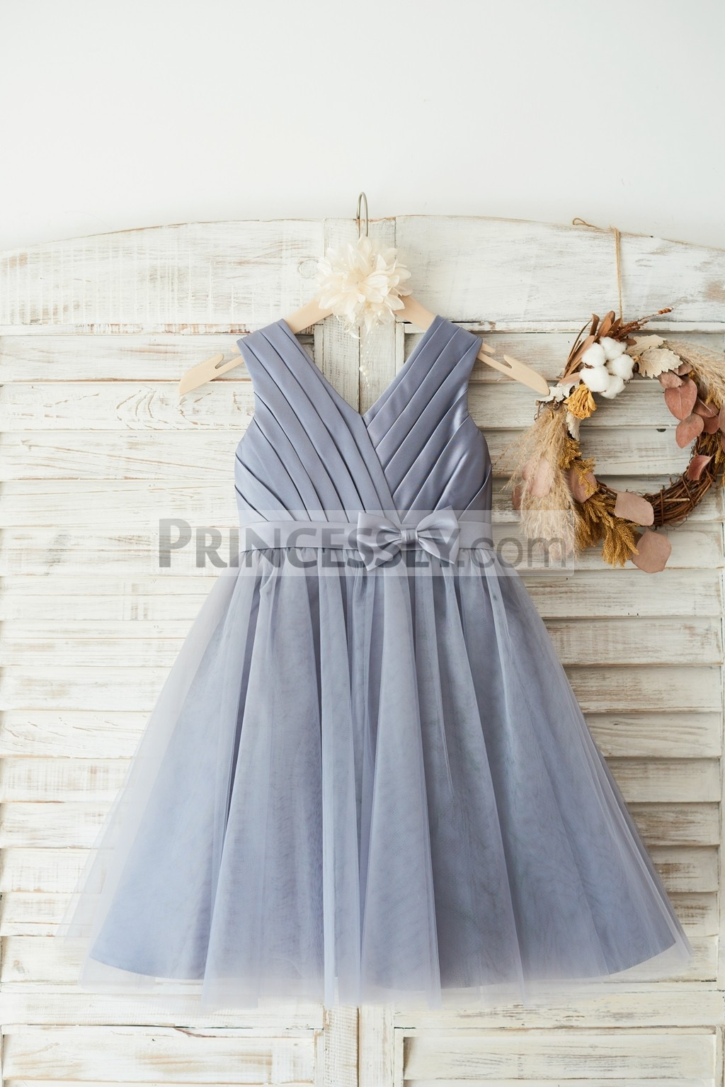 Princessly.com-K1003647-Gray Satin Tulle V Neckline Wedding Flower Girl Dress with Belt-31