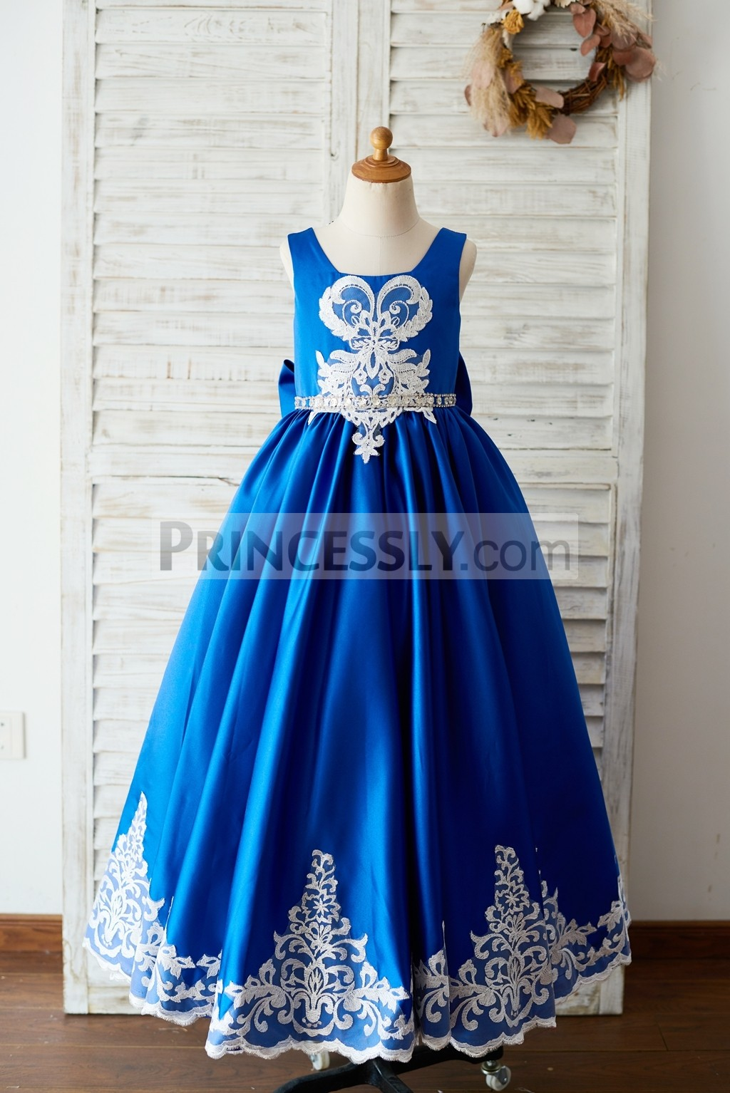 Princessly.com-K1003651-Royal Blue Satin Square Neck Wedding Party Flower Girl Dress with Lace Trim-31