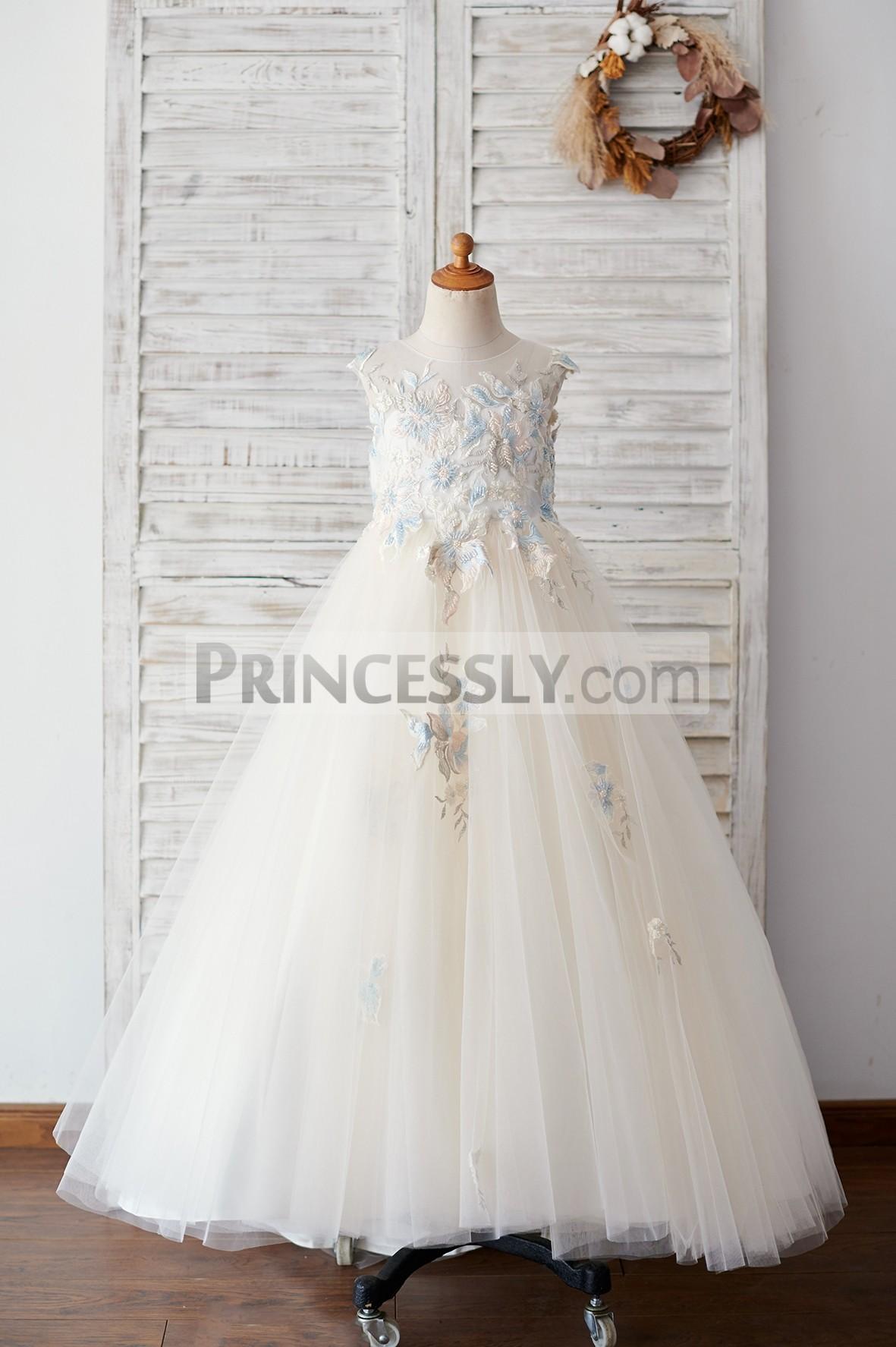 Princessly.com-K1003889-Champagne Tulle Beaded Lace V Back Wedding Flower Girl Dress-32