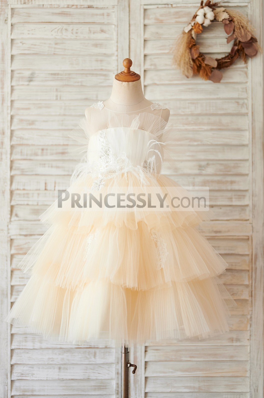 Princessly.com-K1004061-Champagne Cupcake Tulle Beaded Lace Wedding Flower Girl Dress-31