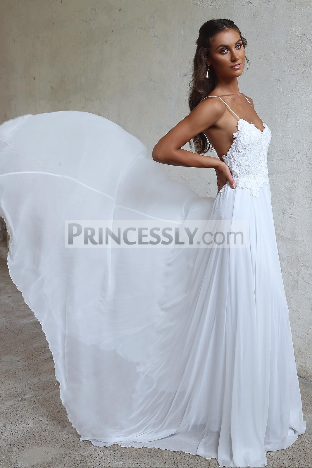 Princessly.com-K1004121-Ivory Lace Chiffon Spaghetti Straps Wedding Party Dress-31