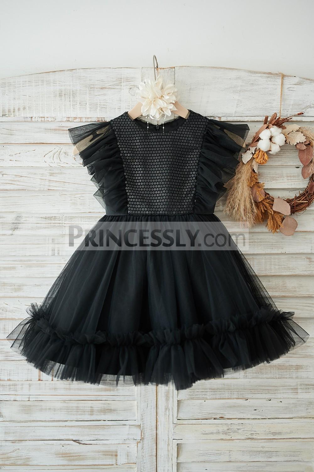 Princessly.com-K1003906-Black Sequin Tulle Ruffle Sleeves Wedding Flower Girl Dress-31