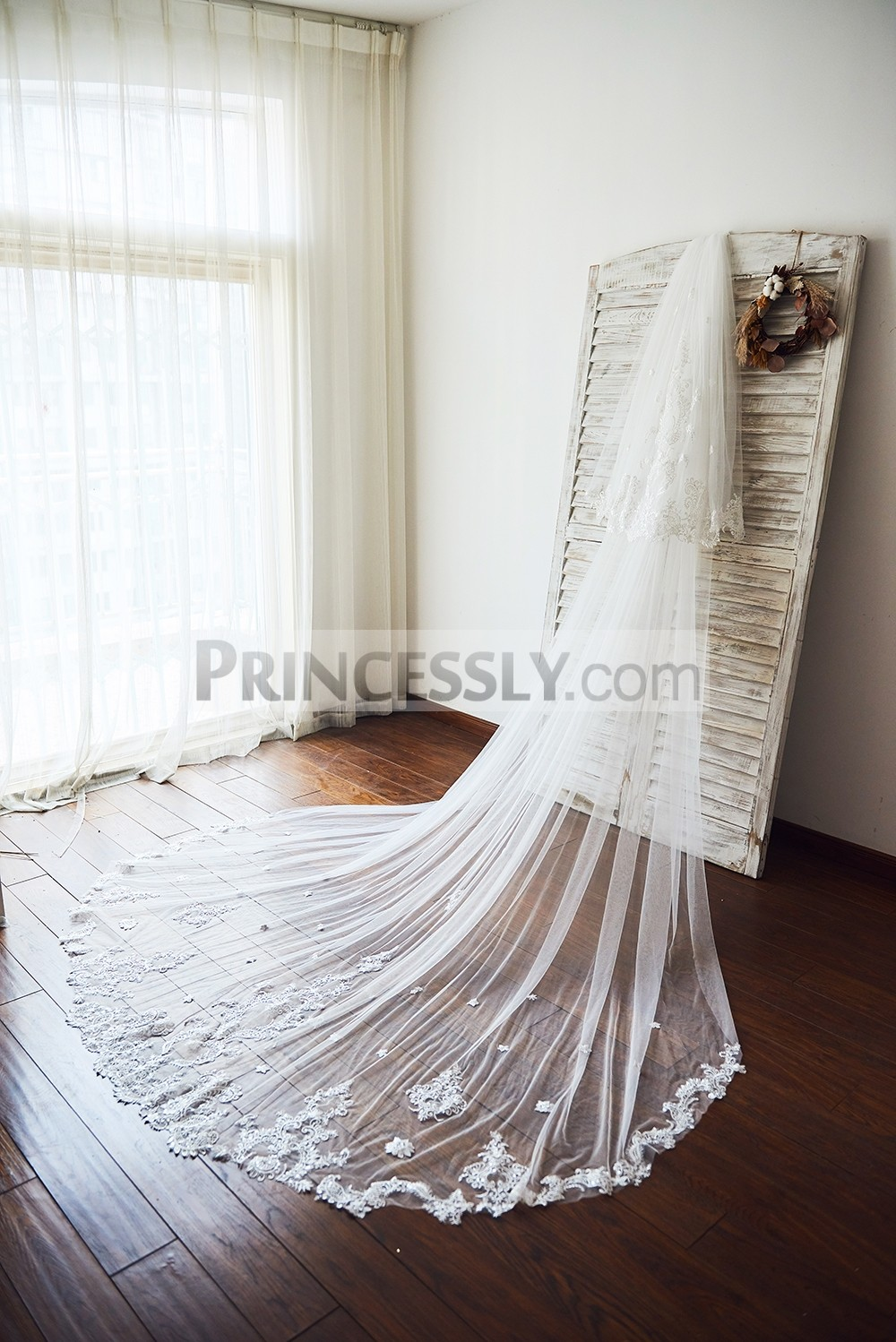 Princessly.com-K1003929-Cathedral Long Tulle Lace Two Layers Wedding Veil Bridal Veil-31