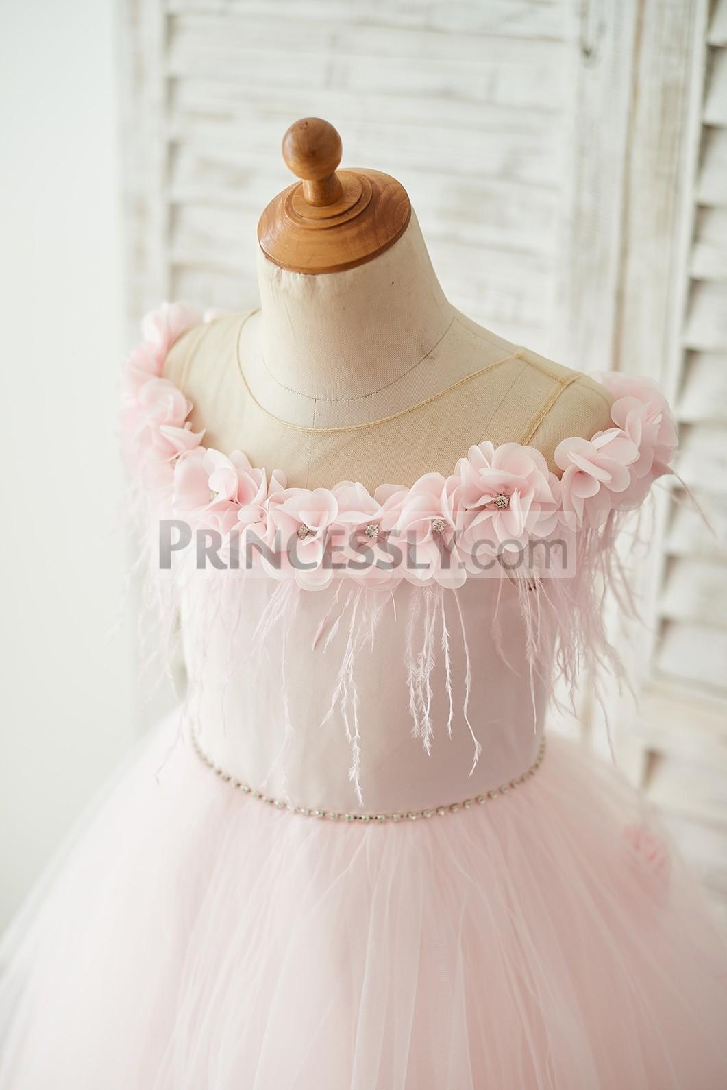 Princessly.com-K1003681-Off Shoulder Pink Tulle Feathers Wedding Party Flower Girl Dress-31
