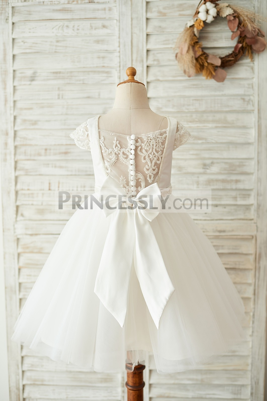 Princessly.com-K1003672-Satin Tulle Beaded Lace Cap Sleeves Sheer Back Wedding Flower Girl Dress with Bow-31